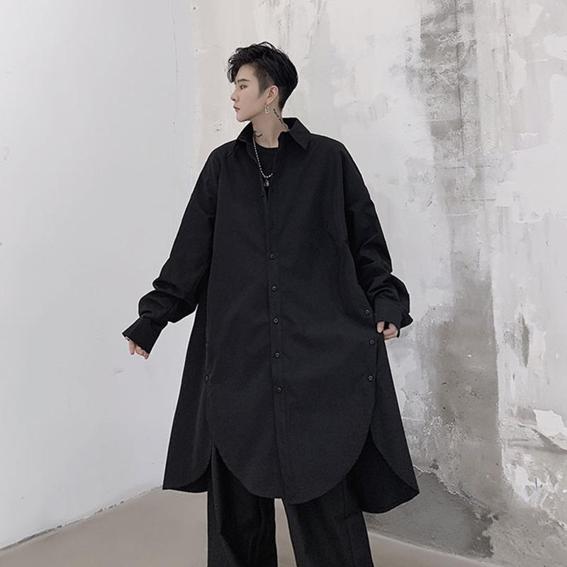 트렌디 한 스플릿 셔츠 중반 긴 코트 잘 생긴 성격 게으른 최고의 남자 가을 느슨한 디자인 캐주얼 셔츠