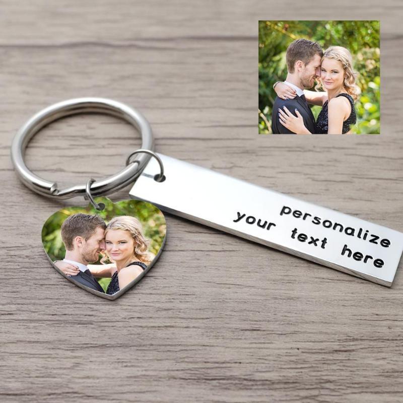 FAVURE FAVORY PERSONNALISÉ PO COLOR PO Keychain Faveurs Cadeau Personnalisé Personnel Picture Chaîne Gravure Bague Cadeaux de mariage