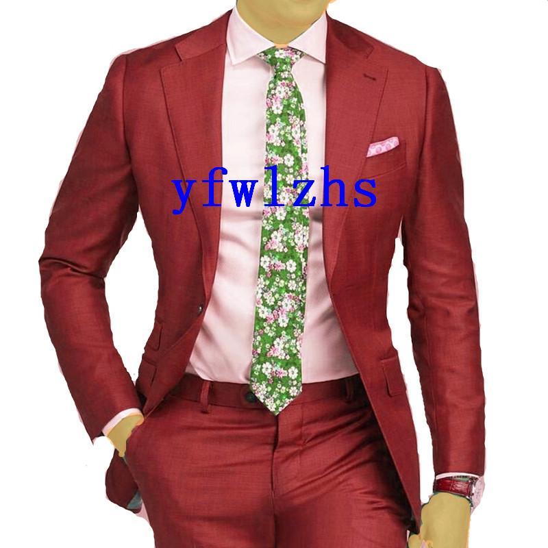 Handsome One Button Groomsmen Notch Lapel Groom Tuxedos Men Suits Wedding Prom Man Blazer ( Jacket+Pantst+Tie) Y302