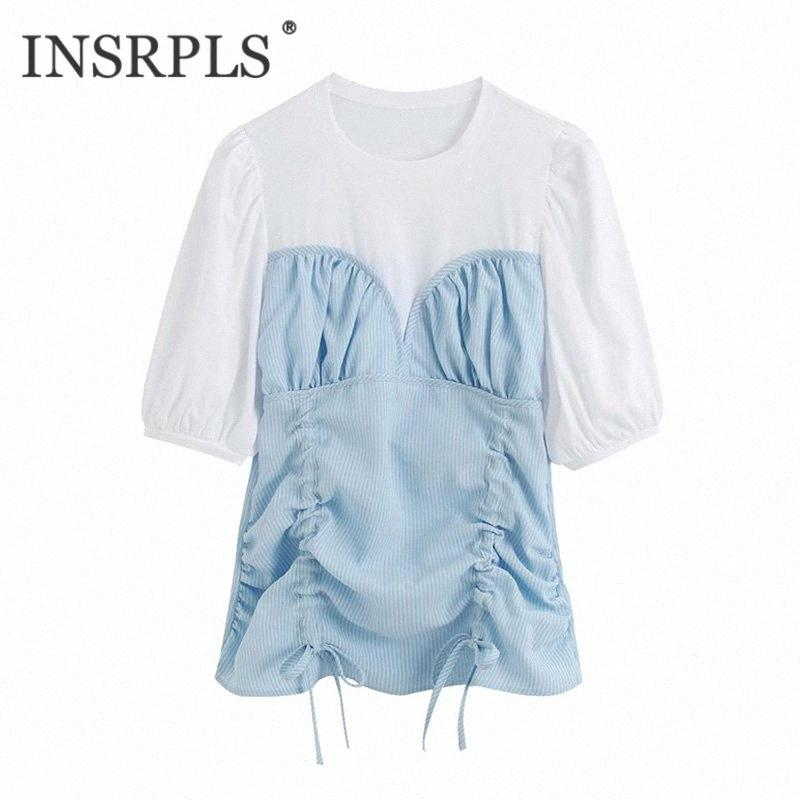 INSRPLS Women Fashion Patchwork Drawstring Tied Blouses Vintage O Neck Short Sleeve Female Shirts Blusas Chic Tops A4S5#