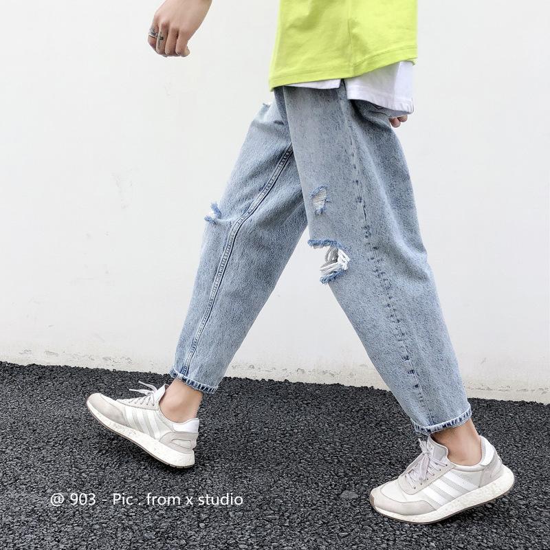Agujero Denim Moda Coreana Moda Summer Handsome T-Capris Suelta Recta Drop Drop Sensación Super Fire CEC Mendigos Pantalones