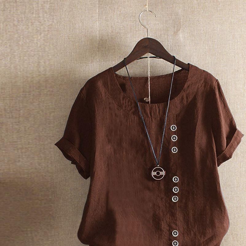 Casual Loose Button Linen Women Shirts Plus Size Daily Boho Tanic Tops Femmes Donne manteau