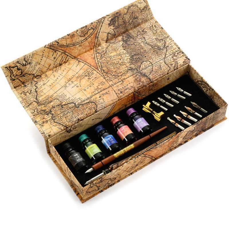 Canetas góticas de caneta gótica definir tinta caligrafia w / 2 haste reta 5 presente de garrafa colorida para adultos crianças