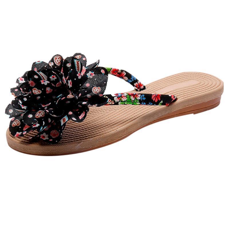 أزياء السيدات شقة مع أحذية البوهيمي المرأة الوجه يتخبط النمط العرقي شاطئ عدم الانزلاق كليب اصبع القدم شبشب 2021 النعال