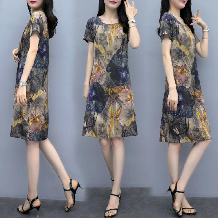 2020 Summer New Dress Mother Lady's Large Loose and Thin Age Reducing Skirtozkv
