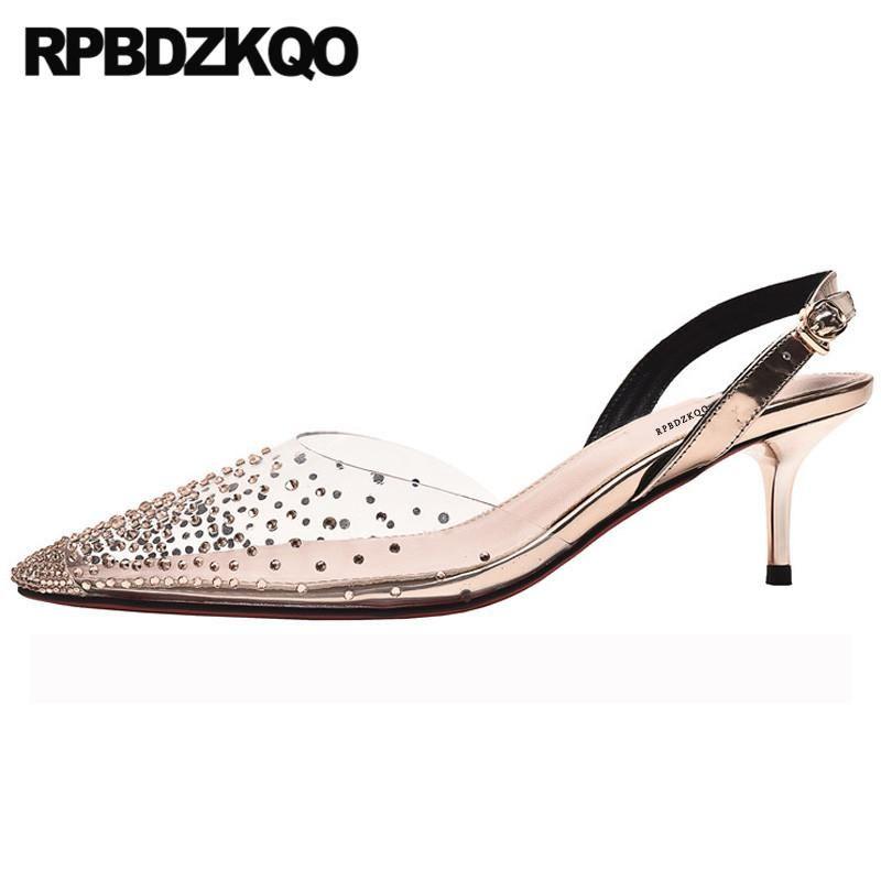 Dress Shoes 2021 Crystal Transparent Rhinestone Pumps Sandals Clear Wedding Stiletto Slingback Women Pointed Toe Thin Strap Pvc