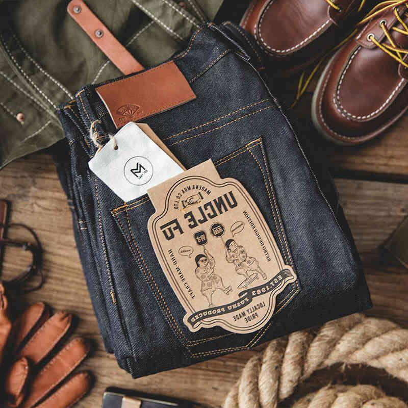 Madden Workwear Mens Blue Straight Jeans 크기 28 ~ 38 일회용 원시 짠 대형 데님 Jean Cotton Denim 바지 스타일 201111