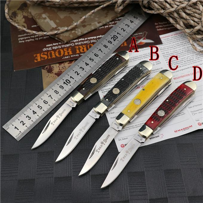 "Boker Plus Traditional Series Folding Knife Hunter Jigged ox Bone Handles 5-1/4"" Closed Outdoor Camping Hunting Survival Pocket Knives Utility EDC Tools"