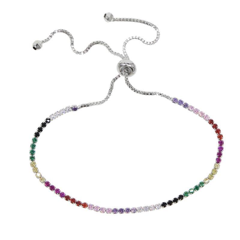 Charm Bracelets Fashion Elegant Rainbow Colorful CZ Stone Bracelet For Women Luxury Gorgeous Delicate Stack Adjust Slider Jewelry
