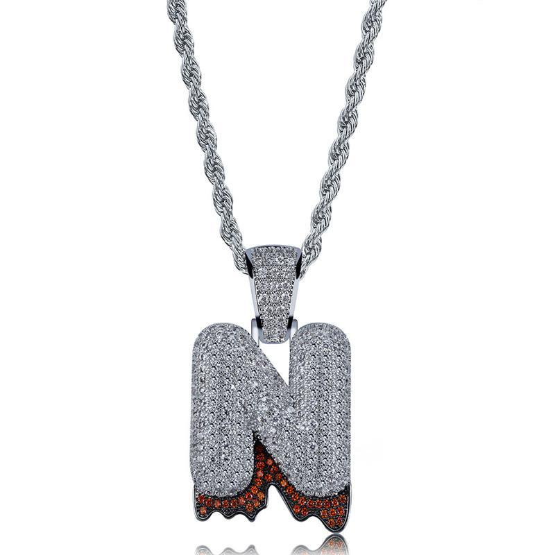 Pendant Necklaces OMYFUN Custom Name Bali Drip Bubble Letters & For Men Women Silver Color Hip Hop Jewelry CZ Iced