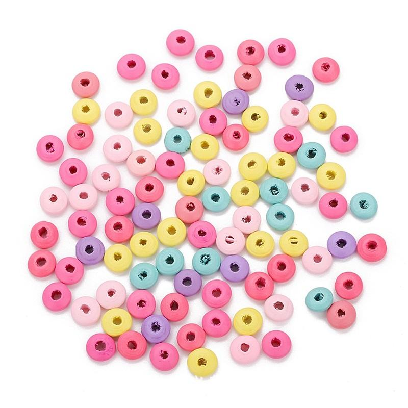 100 adet / grup 12x6mm Renkli Doğal Ahşap Gevşek Düz Spacer Ahşap Boncuk Takı Yapımı Için DIY Kolye Bilezik Aksesuarları 2065 Q2