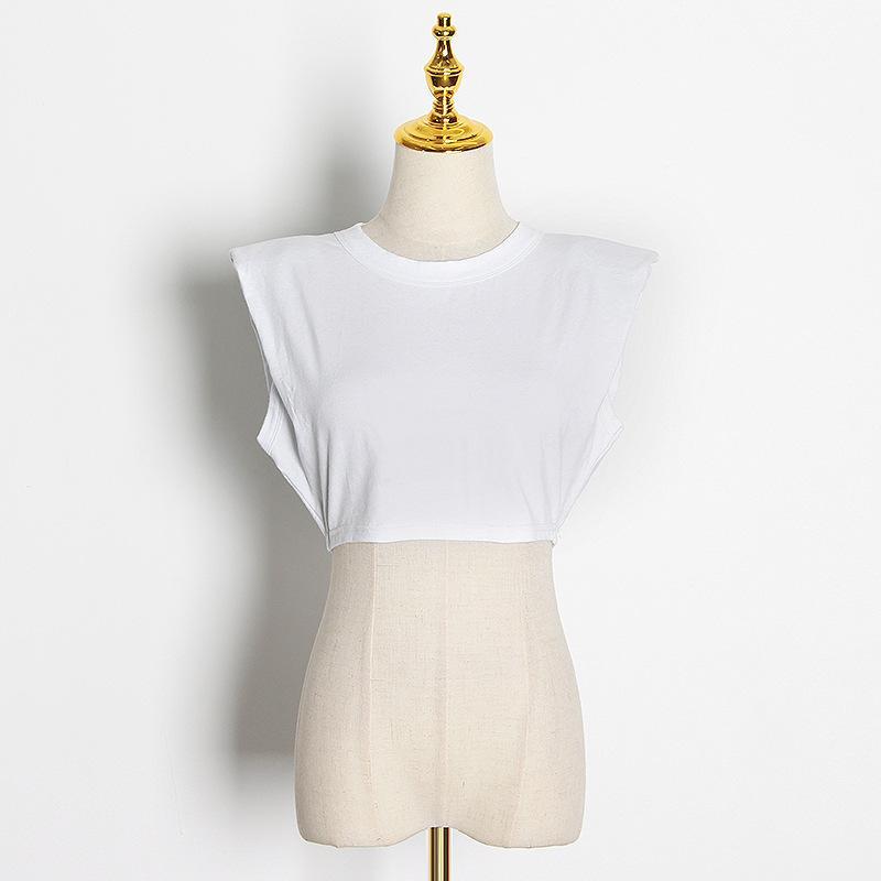 2021 Verão Nova Moda Temperamento Lazer Top Especial-Interesse Design Cintura Alta T-shirt Cropped Sexy para Mulheres