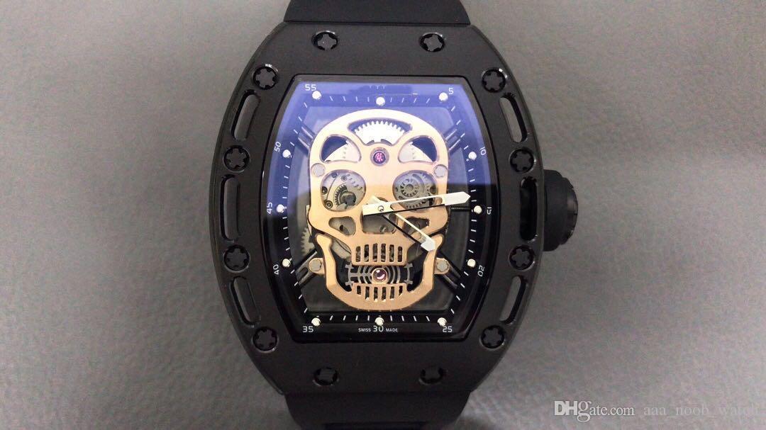 RM-052 ساعة رجالي الحجم: 43x50 ملليمتر 6T51 حركة السيارات الياقوت المضادة للخدش الزجاج مرآة المطاط حزام Orologio di lusso