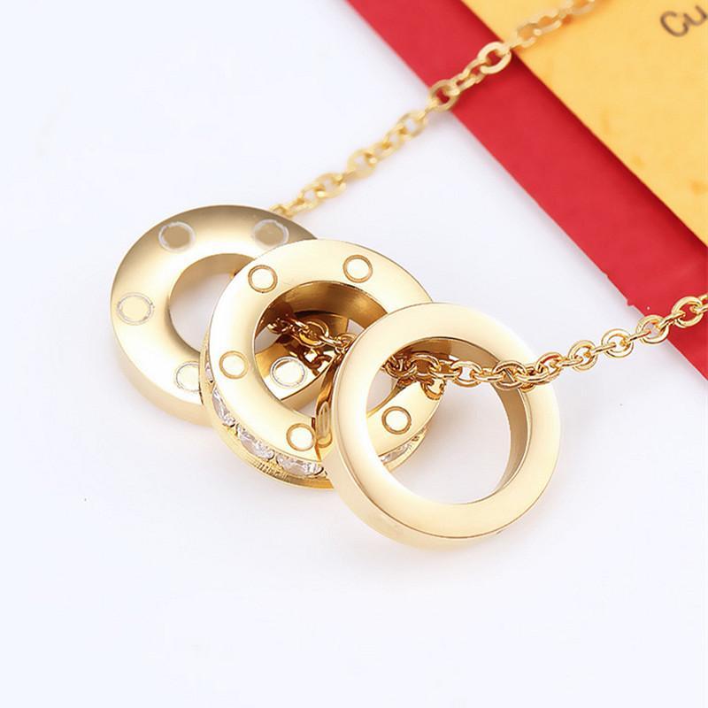 2021 titanium stahl silber volle zirkon liebe pendants halskette drei kreise schraube muster frauen rose gold paar schmuck hochzeitsgeschenk