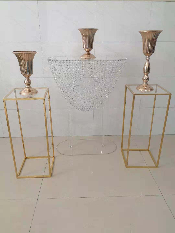 Acrílico redondo mesa de chumbo de estrada decoração de cristal prateleira de cristal exposição de madeira vaso ferro titular do bolo do plinth para o casamento feriado Centralpieces