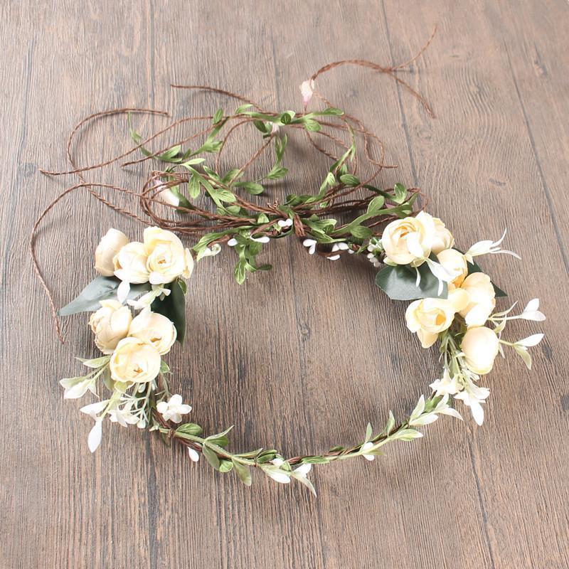 Pâques, anniversaire, coiffe de mariage de mariage Bohême Beach Simulation Flower Cheveux avec couronne de mariée Couronnes de fleurs décoratives