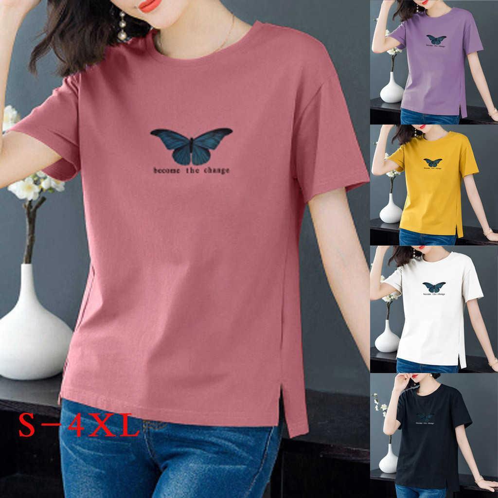 Tshirts Baumwolle Frauen Große Baumwolle Butterfly Drucken Rundhals Kurzarm T-Shirt Damen Top Ropa Mujer Camisetas Y0601