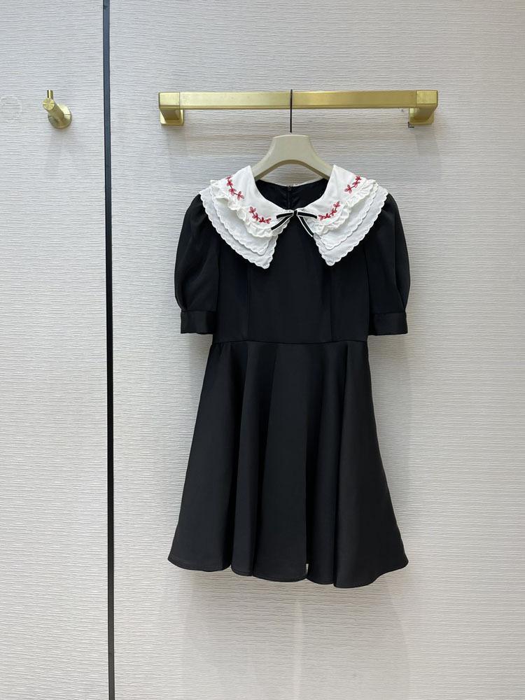 Milan Pist Elbiseleri 2021 Yaka Boyun Kısa Kollu Yüksek Sonu Jakarlı Tasarımcı Elbise Marka Aynı Stil Elbise 0317-3