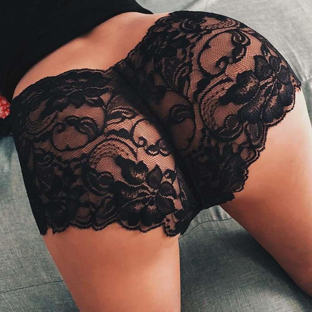 Mutande 2pcs lingerie fiori di pizzo slips plus size biancheria intima sottile cavità mutandine sexy per le donne Kniers trasparenti