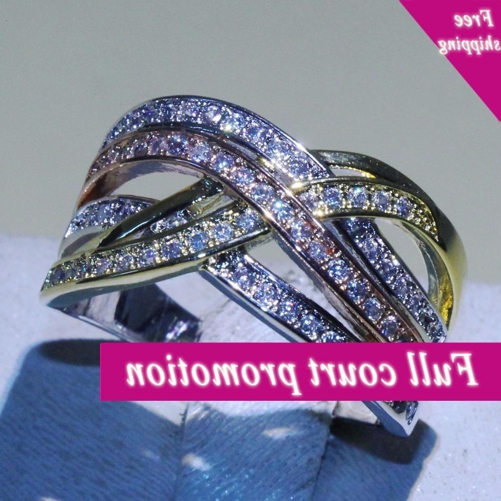 ثلاثة لون العلامة التجارية الجديدة الصليب خواتم مجوهرات 925 فضة البابا aaa زركونيا النساء الزفاف الفرقة حلقة للحبيب