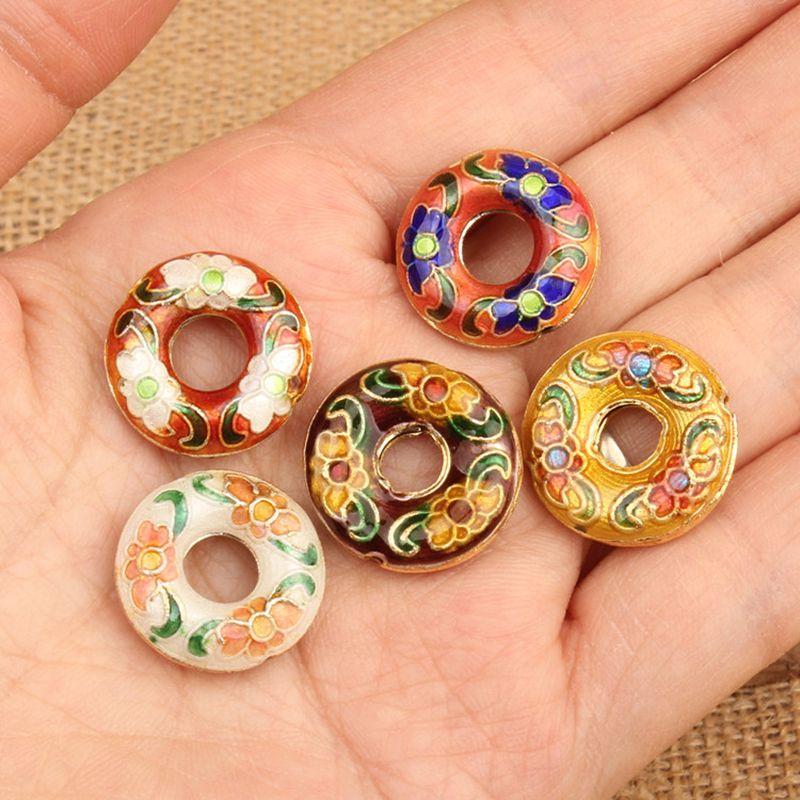 10 pcs cloisonne esmalte redondo contas soltas artesanais diy jóias fazendo descobertas filigrana espaçador grânulos brincos bracelete acessórios