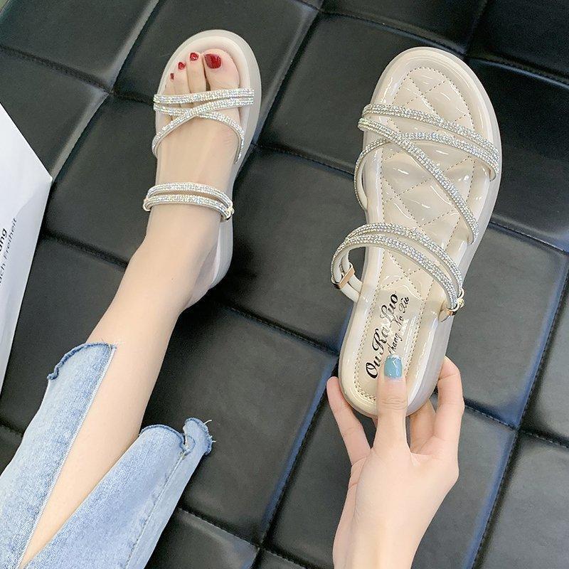 Chaussures de confort pour femmes Sandales plates 2021 Été Talons clairs Talons All-match Soft Soft Femme Beige sans gladiateur Filles Fashion SP