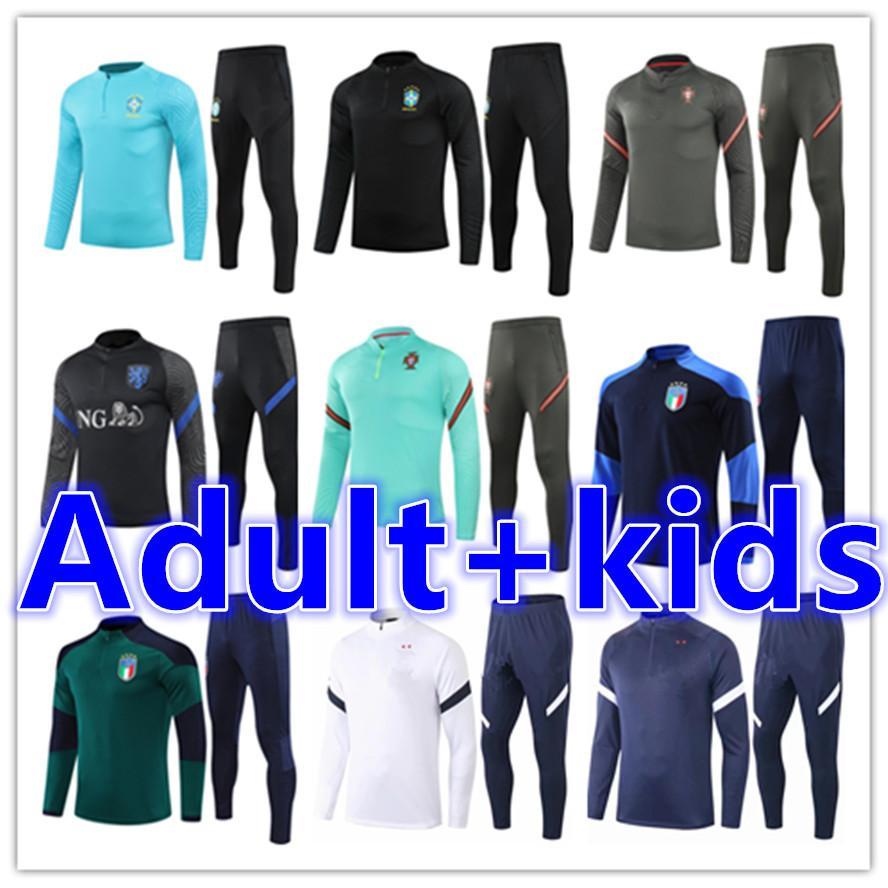2021 Männer Kid Football Trainingsanzug Fussball Training Anzug Jacke Kits Set 20 21 Kinder + Herren Trainingsanzüge Jogging Sets Suringement Fußchandal Tuta