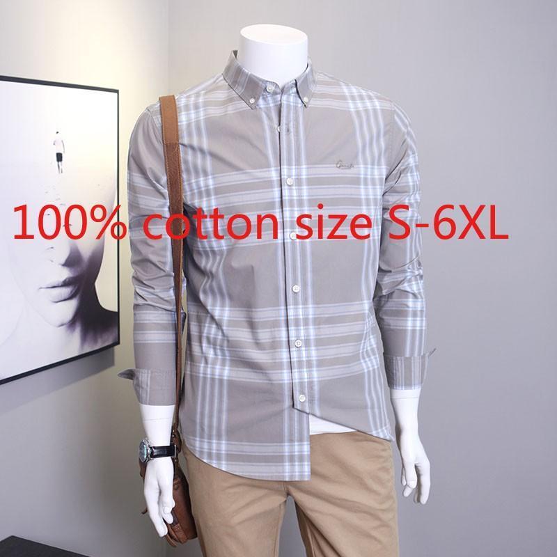도착 패션 봄 격자 무늬 남성 특대 느슨한 100 % 코튼 긴 소매 캐주얼 셔츠 플러스 사이즈 S M L XL 2XL 3XL 4XL 5XL 6XL 남자