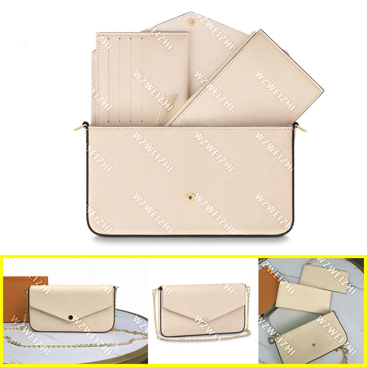Hakiki Deri Pochette Zincir Çanta Deri Messenger Çanta Bayan Omuz Çantaları Yaz 3in1 Çanta Cüzdan Cross Vücut Vanilya Sarı Kutusu