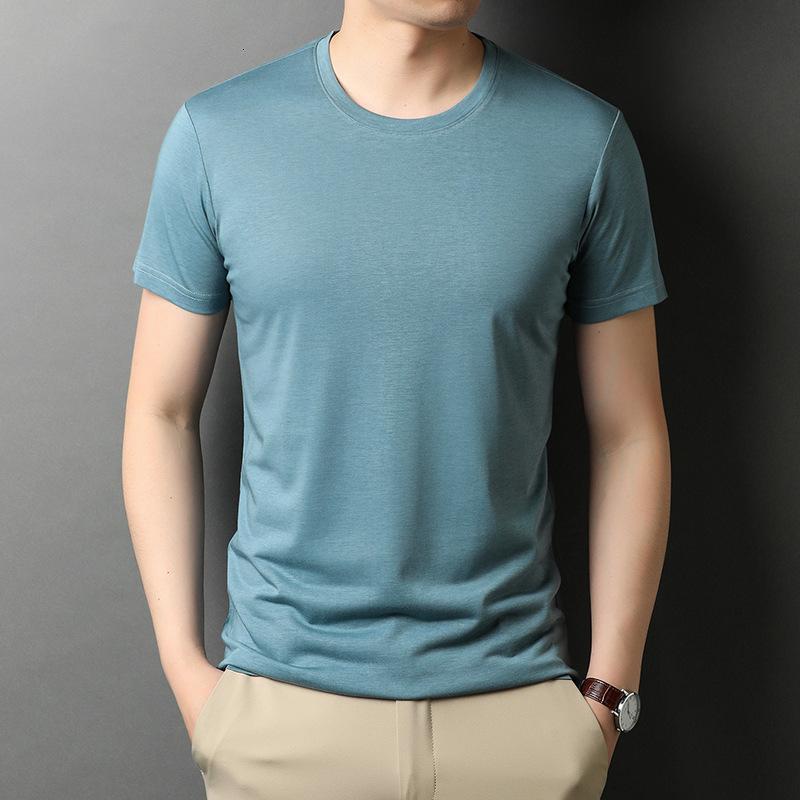 T Shirt 2021 Summer Men's Short de mediana edad y joven NE REDONDA NE MULBERA SÓLIDA SÓLIDA MANGE FLEVE T-SHIRT