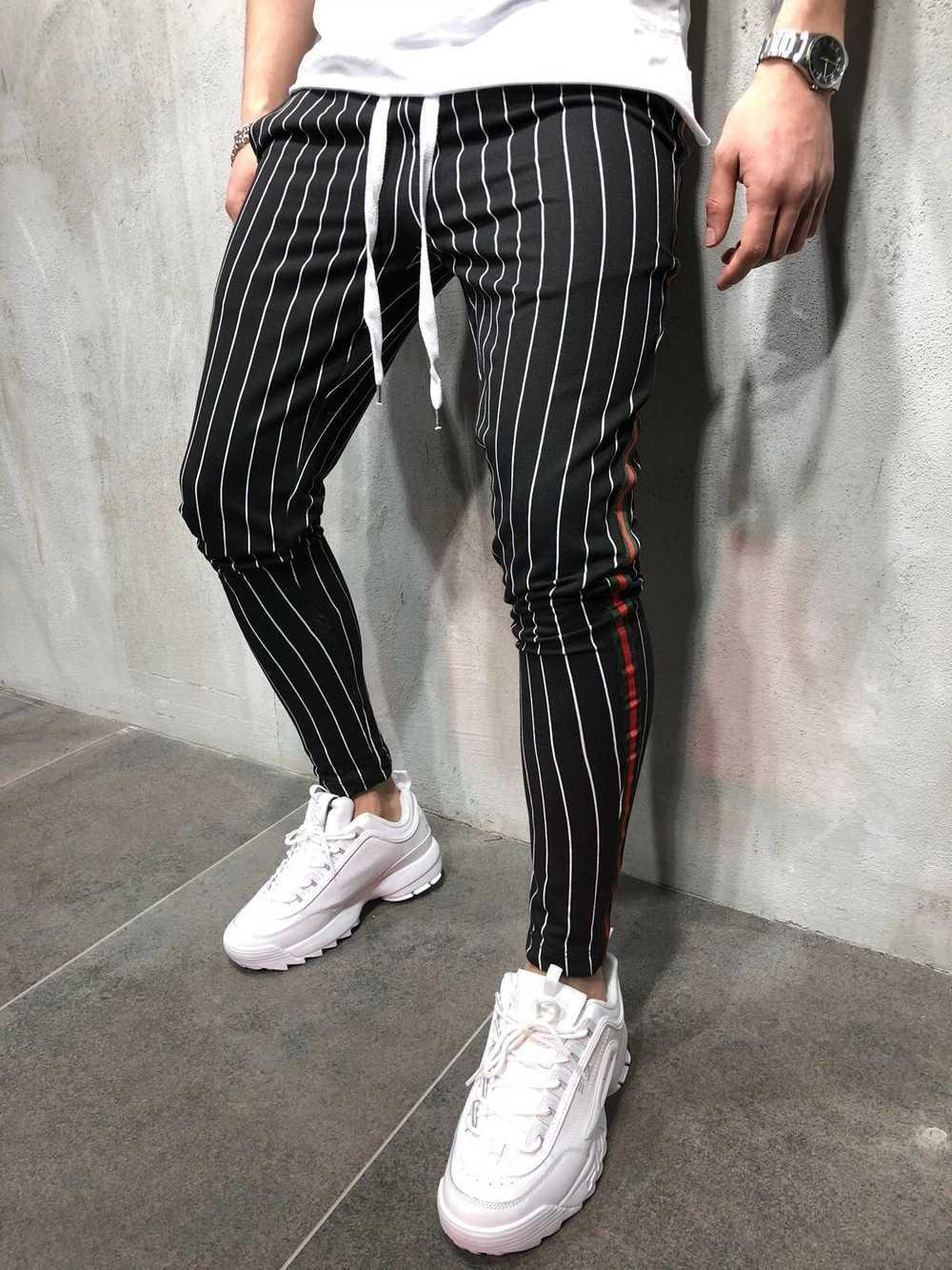 2020 hommes Nouveau pantalon décontracté personnalité personnalité sport sport slim attache tether jogging pantalon homme de la cheville