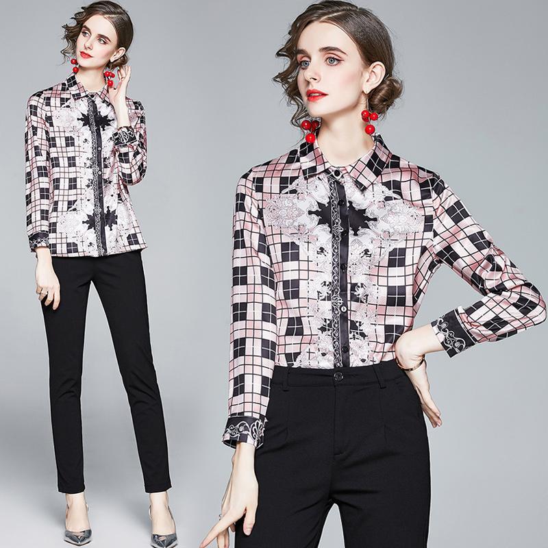 2021 패션 디자이너 격자 무늬 블라우스 여성 활주로 우아한 셔츠 슬림 긴 소매 사무실 숙 녀 클래식 셔츠 아름다운 봄 가을 인쇄 플러스 크기 단추 탑스