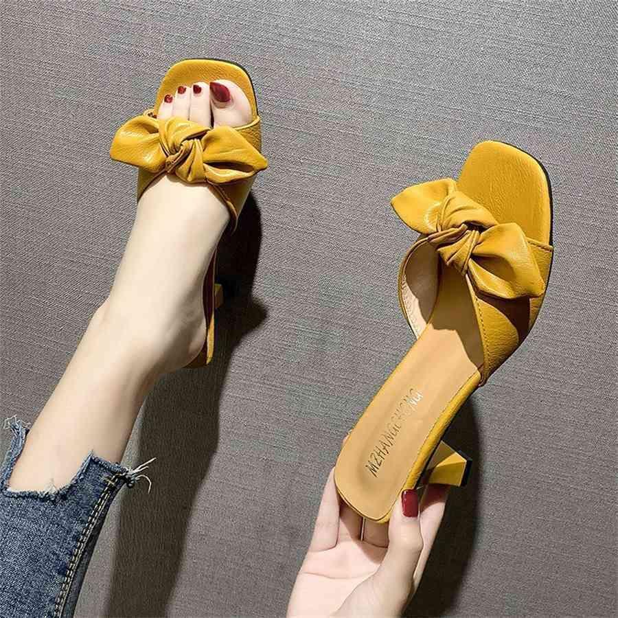 Летние модные тапочки каблуки для женщин сплошной цвет большие боути на сандалии обувь женщина 2021 PU наружные слайды Mujer