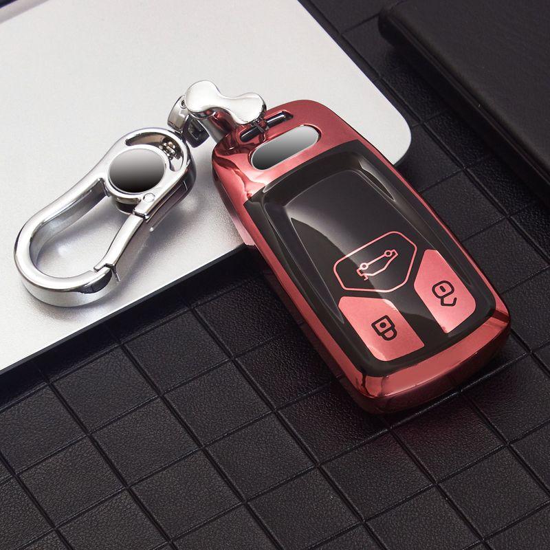 TPU غطاء مفتاح السيارة لأودي a5 q7 s4 s5 a4 b9 a4l 4 متر tt tts روبية 8 ثانية الذكية سلسلة المفاتيح القضية شل أكياس الملحقات