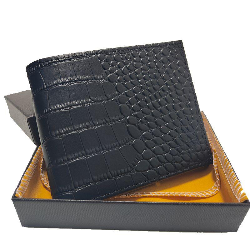 Portafoglio Italiano Portasiglietteria Retagli di alta qualità Pelle di coccodrillo Modello di coccodrillo Borsa a gettoni Brevi Borsa a mano Pieghevole Artigianato con scatola Set