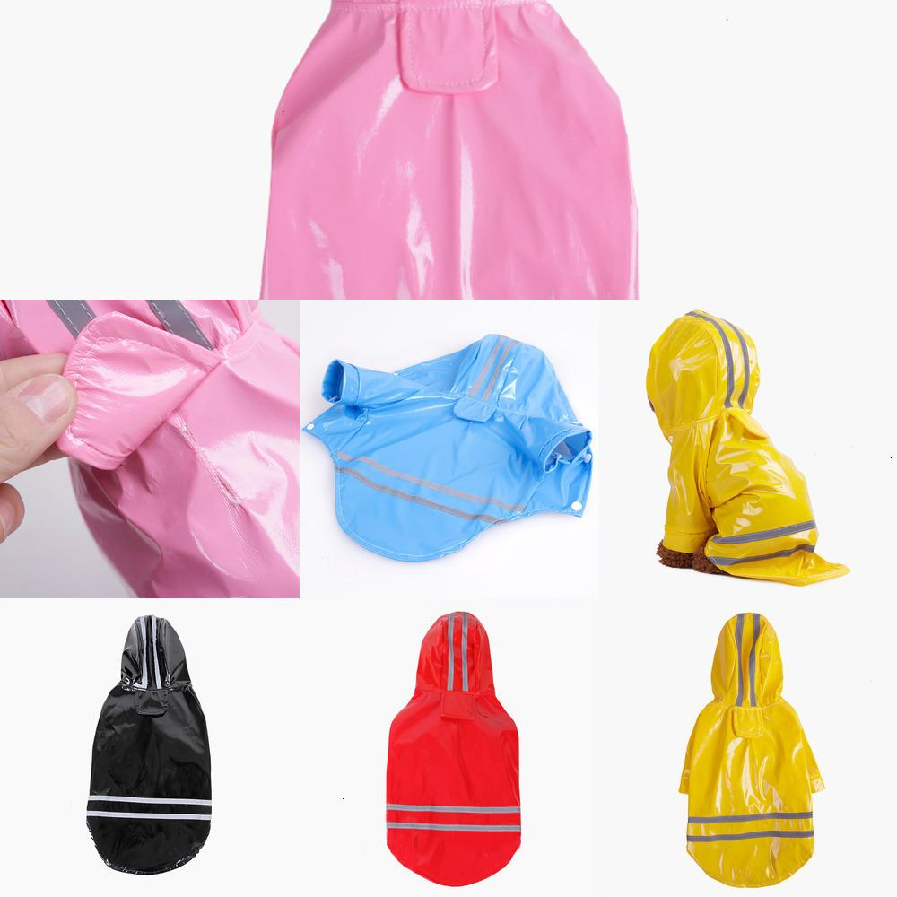 dog clothes pet dog clothes Outdoor Puppy Pet Rain Coat S-XL Waterproof Jacket hooded raincoat PU reflective for Dogs Cats apparel 4 18IN