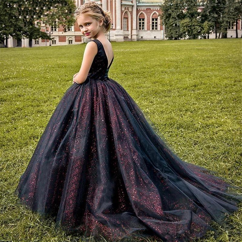 Girl's Dresses Flower Girl Dress For Wedding Fuchsia 3D Flowers Princess Party Gown Luxury Ball Little Girls Pageant