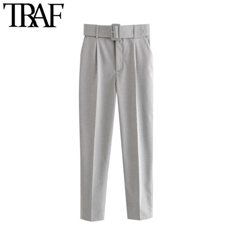 TRAF Женщины Шикарные мода Офис одежда с брюками пояса Винтаж Высокие талии Карманы Женские Брюки лодыжки Pantalones Mujer 210319