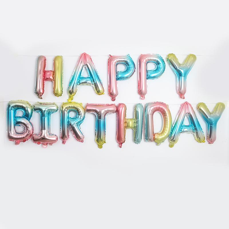 13 unids Feliz cumpleaños Globos Foil Carta Balloon Niños Adultos Decoraciones de fiesta de cumpleaños Proveedor Set de globos de globos Set 2021