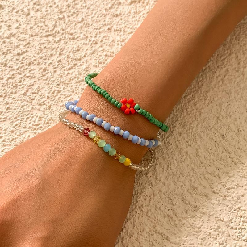 Link, Chain 3pcs Kpop Korean Charm Bracelet For Women Girls Bohemian Resin Handmade Beaded Little Daisy Summer Vacation Jewelry