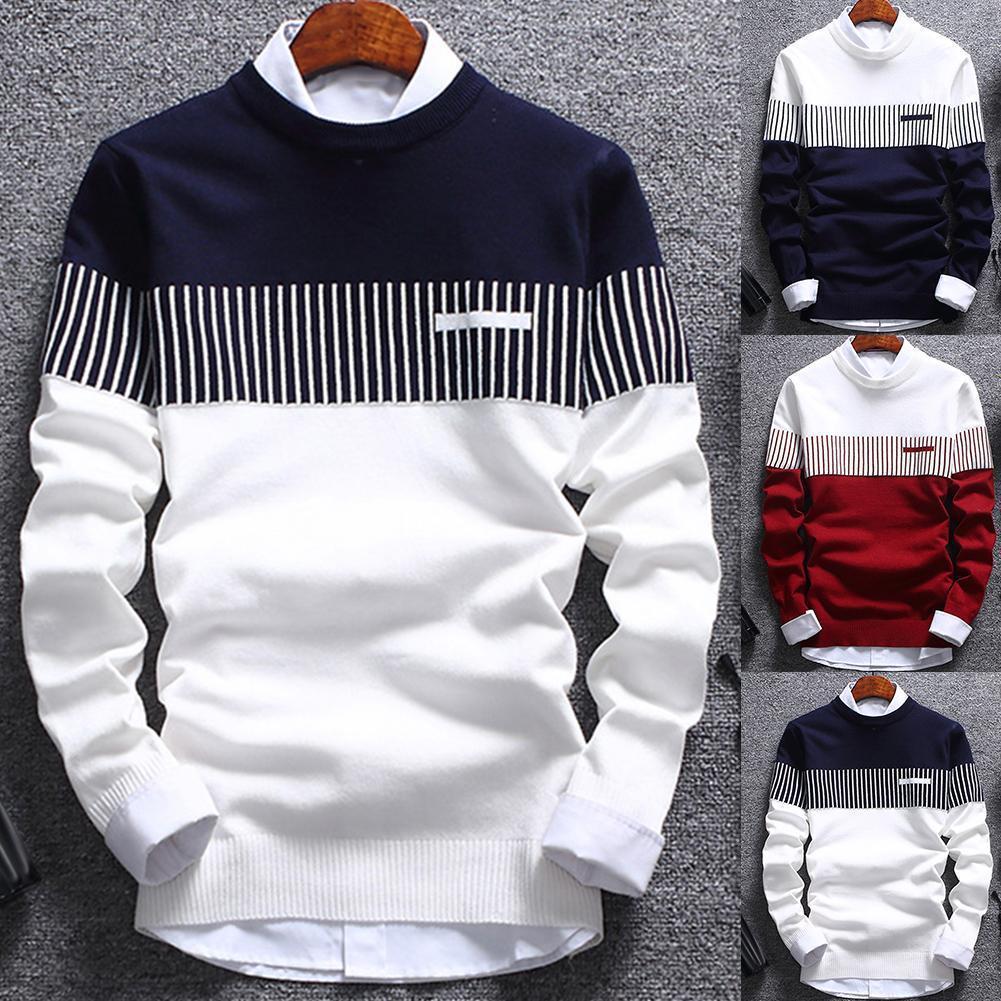Männer pullover herbst jugendlicher rundhals stricken pulsierer koreanischer stil schlank gestreifter trend europäisch und amerikanisch