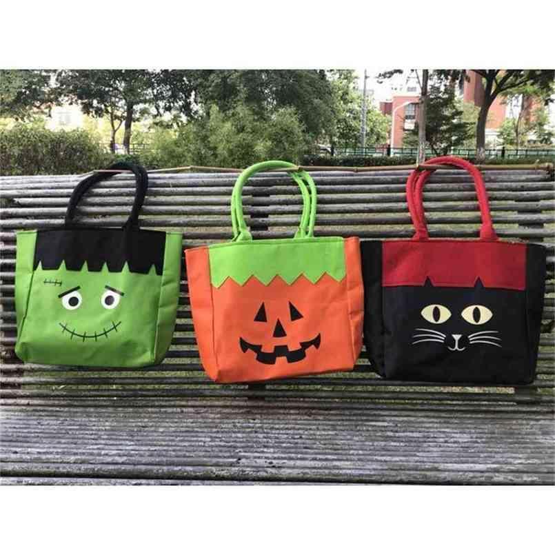 Halloween Decorative Canvas Gift Bag Pumpkin Portable Sail Cloth Cartoon Ghost Print Handbag Candy Bags Party Lunch Box School Book Pack G85KT5X