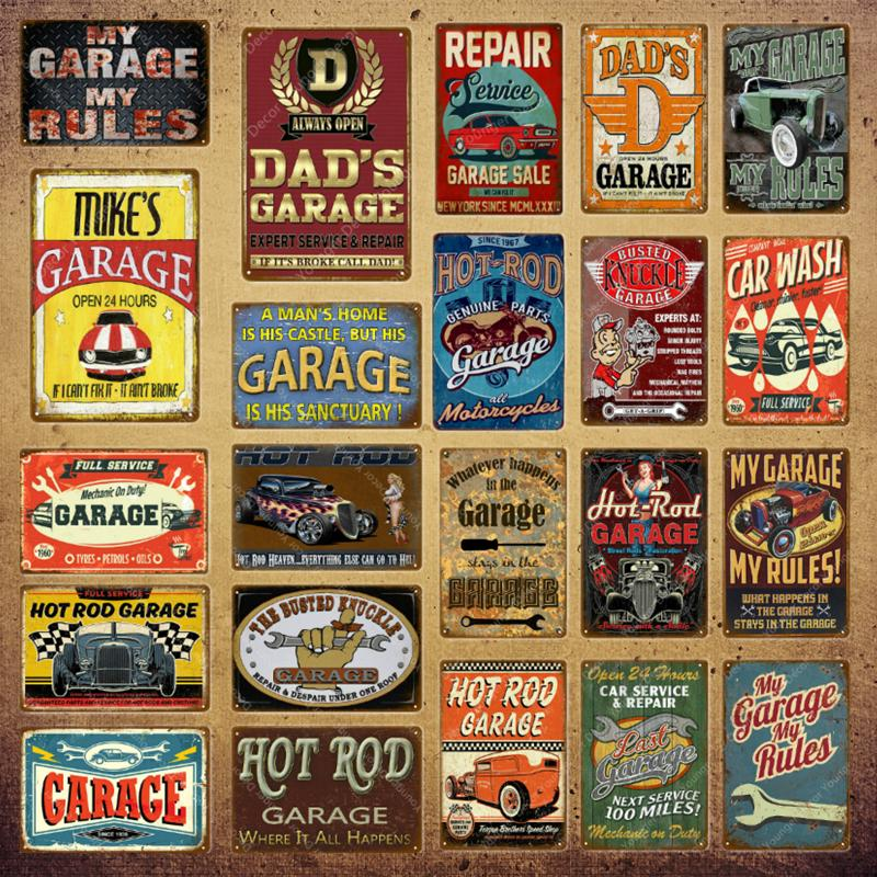 2021 HOR TIGE GARAGE Signes de peinture en métal Ouvrir 24 heures Plaque Vintage Affiche Rétro Dads Mes Rules Man Cave Cave Décor Mur Artisanat Taille 30x20cm