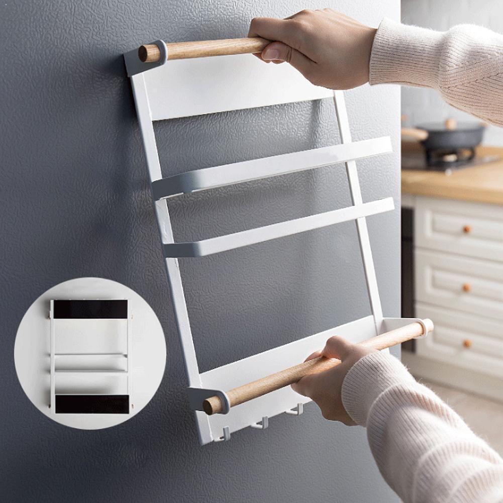 2 In 1 Use Folding Fridge Shelf For Home Kitchen Storage Towel Organizer Spice Hanging Rack Roll Magnetic Shelves Holder