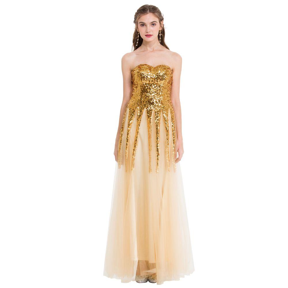 Angel-Fashions Kobiety Nowe Cekinie Suknie Bez Rękawów Party Tassels Lace Up Long Mesh Suknia Ślubna Party Dress 106