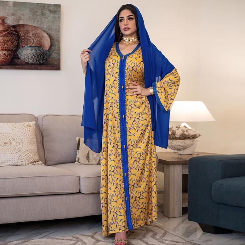 Abbigliamento etnico Abaya Dubai Turchia Arabo Hijab Abiti da modo musulmana Abiti Islam Abiti lunghi Abiti per le donne Robe Musulman de Mode Femme
