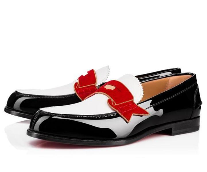 PartyBusinessDress - 신사 신발 빨간색 하단 남성용 로퍼 신발 모노노 Oxfords에 슬립 슬립 패션 캐주얼 워킹 아파트