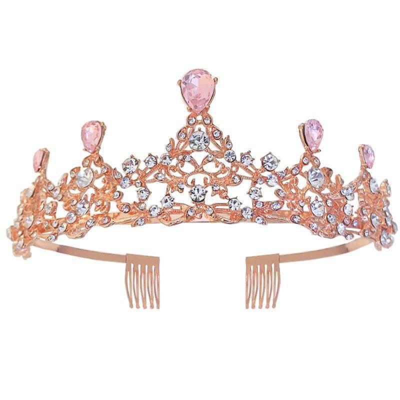 مقاطع الشعر المشابك K3ND الوردي الباروك الملكي الملكة الذهب ولي العرس كريستال الأميرة تيارا رباطات
