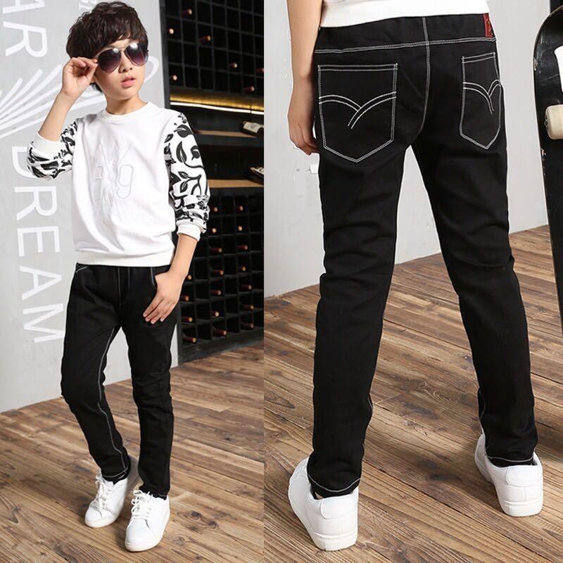 Jungs Jeans 2021 Frühling und Herbst Kinderhosen Koreanische Version Schwarze Casual Hose