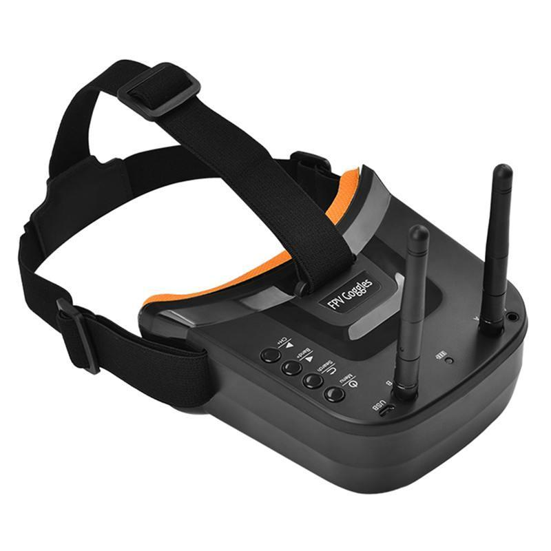 Verres Mini Goggles de FPV 3 pouces 480x320 Affichage Double Antenne Réception 5.8g 40Ch avec batterie pour quadrocteur RC Racing Drone